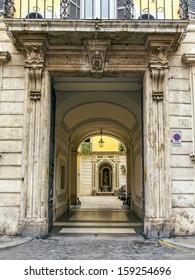 Rome, Italy. Typical architectural details of buildings in the historic city