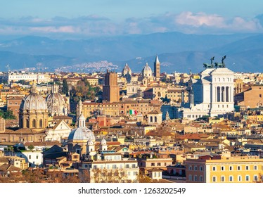 Rome (Italy) - The view of the city from Janiculum hill and terrace, with Vittoriano, Trinità dei Monti church and Quirinale palace.