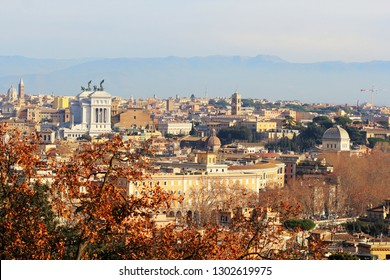Rome (Italy) - The view of the city from Janiculum hill and terrace, with Vittoriano, Santa Maria in Ara Coeli church and Campidoglio.