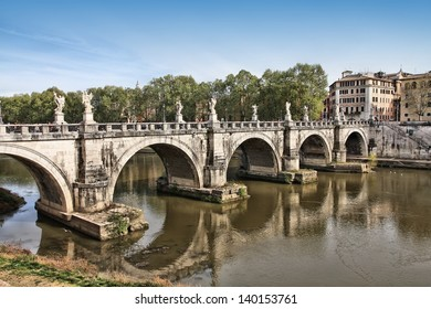 Rome, Italy. View of famous Sant' Angelo Bridge. River Tevere.