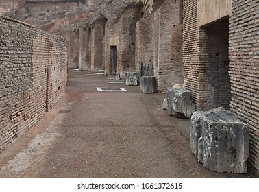 Rome, Italy-09/16/2017: Antique walls and stones inside the famous Colosseum in Rome