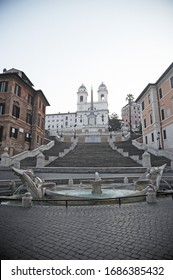 Rome, Italy-12 Mar 2020: Popular tourist spot Piazza di Spagna is empty following the coronavirus confinement measures put in place by the governement, Rome, Italy