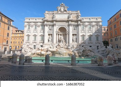 Rome, Italy-29 Mar 2020: Popular tourist spot Trevi Fountain is empty following the coronavirus confinement measures put in place by the governement, Rome, Italy