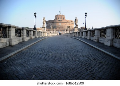 Rome, Italy-29 Mar 2020: Popular tourist spot Castel Sant'Angelo is empty following the coronavirus confinement measures put in place by the governement, Rome, Italy