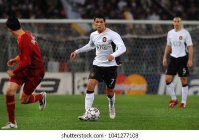 ROME, ITALY-APRIL 05, 2007: Cristiano Ronaldo of Manchester United in action, during the UEFA Champions League match AS Roma vs Manchester United, at the Olimpic stadium, in Rome.