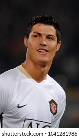 ROME, ITALY-APRIL 05, 2007: famous soccer star Cristiano Ronaldo portraited at the Olimpic stadium, during the UEFA Champions League match, AS Roma vs Manchester united, in Rome.