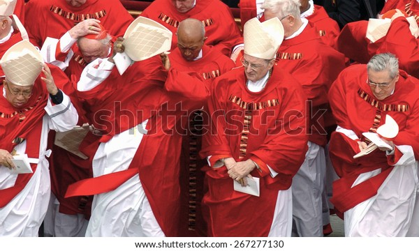 ROME, ITALY-AUGUST 19, 2005: catholic cardinals from all over the world attending the funeral of Pope John Paul II, at Vatican City, in Rome.