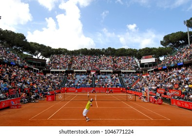 "ROME, ITALY-JANUARY 29, 2005: panoramic view of red tennis court's surface at the International ATP tournament ""Internazionali d'Italia"", in Rome."