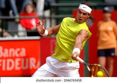 """ROME, ITALY-MAY 10, 2006: Spanish famous tennis player Rafael Nadal, in action at the International ATP tournament """"Internazionali d'Italia"""", in Rome."""