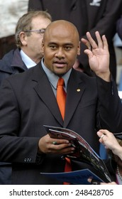 ROME, ITALY-NOVEMBER 13, 2004: new zealand rugby player All Black Jonah Lomu greetings from the tribune, during the rugby test match Italy vs New Zealand, in Rome.