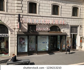 ROME, ITALY-OCTOBER 1, 2018:  Farmacia Piram, a typical pharmacy in Rome.  This location also features a wide selection of perfumes.