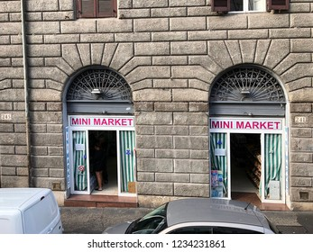 ROME, ITALY-OCTOBER 1, 2018:  Typical Italian mini market on a fashionable avenue in central Rome.