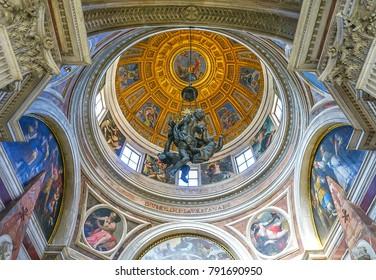 ROME, ITALY-OCTOBER 12, 2017:  The dome in Chiesa di Santa Maria del Popolo Church in Piazza del Popolo in Rome, Italy