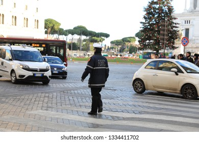 ROME - JAN 3: French police control the street in Rome the 3 January 2019, Italy. Rome is one of the most populated metropolitanareas in Europe