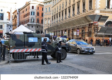 ROME - JAN 3 : Rome police control the street in Rome the 3 January 2019, Italy. Rome is one of the most populated metropolitanareas in Europe