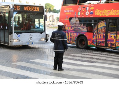 ROME - JAN 3: Police control the street in Rome the 3 January 2019, Italy. Rome is one of the most populated metropolitanareas in Europe