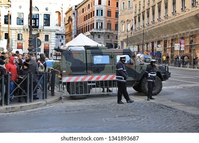 ROME - JAN 3: Rome police control the street in Rome the 3 January 2019, Italy. Rome is one of the most populated metropolitanareas in Europe