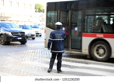 ROME - JAN 3: Rome police control the street in Rome the 3 January 2019, Italy. Rome is one of the most populated metropolitan areas in Europe