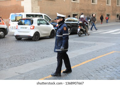 ROME - JAN 3:Rome police control the street in Rome the 3 January 2019, Italy. Rome is one of the most populated metropolitanareas in Europe