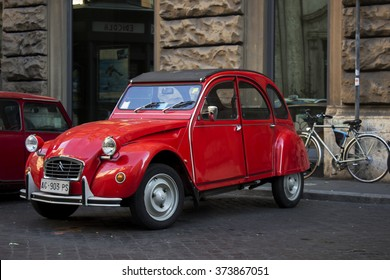 Rome January 31, 2016: A red vintage Citroen 2CV in the parking