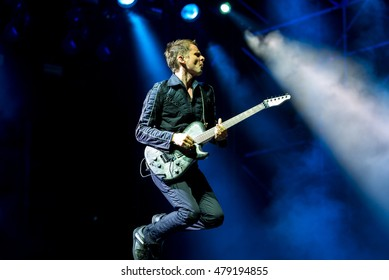 ROME - JUL 18: Muse, rock band that consists of Matt Bellamy, Chris Wolstenholme and Dominic Howard, perform in concert at Rome stage on July 18, 2015 in Rome, Italy.