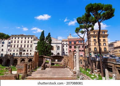 ROME - JULY 02: Largo di Torre Argentina with unidentified people on July 02, 2014 in Rome. It is a square that hosts four Republican Roman temples, and the remains of Pompeys Theatre.