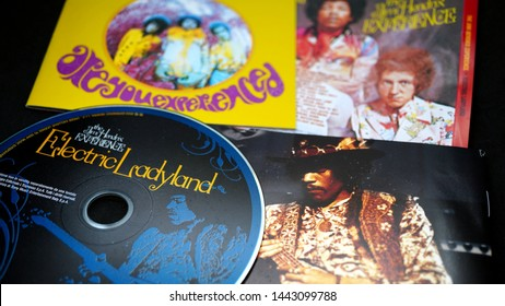 Rome, July 05, 2019: Detail of CDs and artwork of the American rock guitarist Jimi Hendrix. died in the apartment he had rented at the Samarkand Hotel in London on 18 September 1970