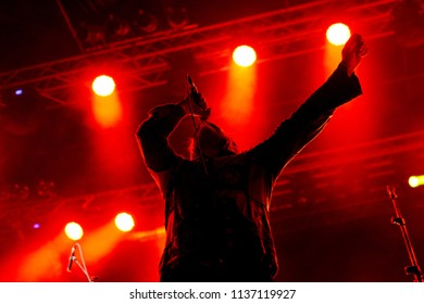 """ROME - July 12, 2018: Davide Toffolo, frontman of """"Tre Allegri Ragazzi Morti"""", participates in the concert of """"Bud spencer blues explosion""""."""