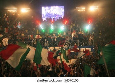 ROME - JULY 12: the Italian national soccer team celebrate their World Cup victory in 2006 World Cup in Germany, July 12, 2006, Rome, Italy