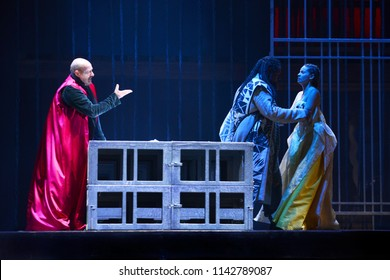 ROME - July 20, 2018: A scene of Othello at the Globe Theater of Rome