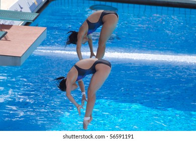 ROME - JULY 24: Women trampoline 3m finals, 13th FINA World Championships at Foro Italico on July 24, 2009 in Rome, Italy. Guo JingJing and Wu MingXia Chinese won Gold Medal.
