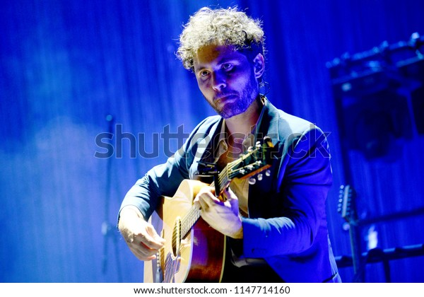 """ROME - July 30, 2018: The band """"Baustelle"""" performs at the """"Auditorium Parco della Musica"""" of Rome."""
