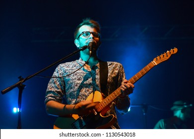 ROME - July 5, 2018: A musician from the band of Willie Peyote plays during a concert.