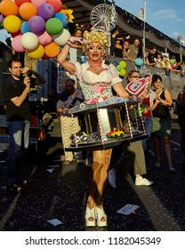 Rome - June 11, 2011: Rome Euro Pride. A transgender wears a carousel vintage, during the gay pride parade through the streets of the old town.