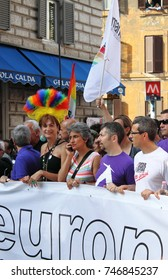 ROME - JUNE 11: Italian Parliament members Paola Concia and Vladimir Luxuria marches at the head of Rome Euro Pride Parade, on June 11, 2011 in Rome, Italy