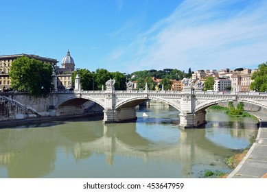 ROME - JUNE 19 2016: Ponte Vittorio Emanuele II is a bridge across the Tiber and  108 meters long.