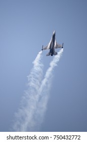 ROME - JUNE 29: A F-16 Fighter Falcon performs at the Rome International Air Show on June 29, 2014 in Rome, Italy