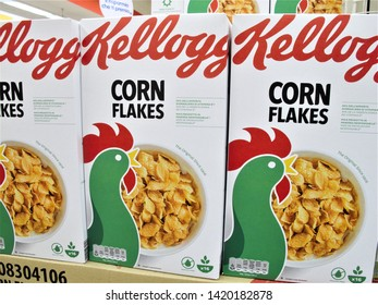 Rome, June 9,2019 boxes of Kelloggs  corn flakes at the Auchan supermarket in Rome