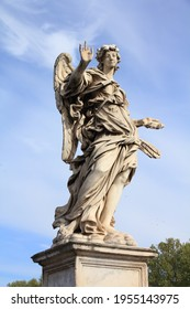 Rome landmarks. Angel monument on Saint Angel Bridge (Ponte Sant' Angelo). Rome city, Italy.