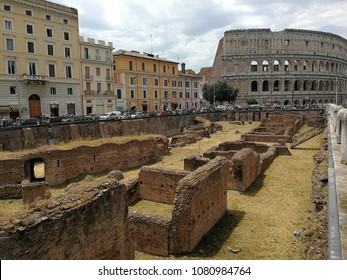 Rome, Lazio, Italy - April 20, 2017: Remains of the Ludus Magnum, near the Coliseum, the only one of the four garret barracks built by Diocletian still partially visible today