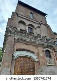 Rome, Lazio, Italy - October 24, 2019: Casa di Cola di Rienzo, also known as Tor Cresenzia, Casa dei Crescenzi or Palazzo di Pilato, built in the 11th century at the Foro Boario