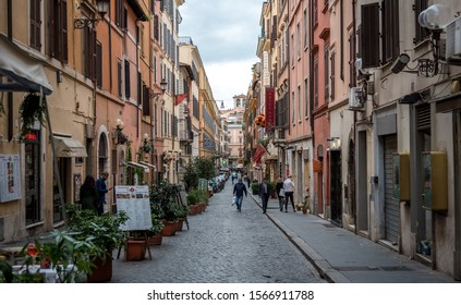 Rome, Lazio region/Italy - Nov 19-11-2019 - Typical Italian street picture taken  in the centre of the Metropolitan City of Rome. It is the fourth most populous city in the European Union .
