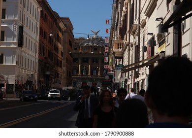 Rome/ Lazio/Italy - 09/12/2019: Walking on the streets of Rome, Clean Sky bright sunny day. morning, romantic, vacations, village, cityscape, history, culture tourist italy historic beige mediterran