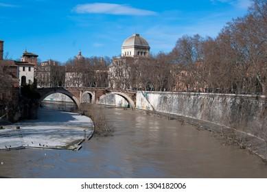 Rome, Lazio/Italy - February 04 2019: The river Tiber in full high