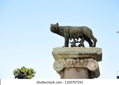 Rome, Lupa Capitolina, symbol of the city of Rome. Romulus and Remus are nursed