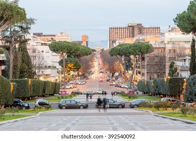 ROME - MARCH 12:  View over Viale Europa, a scenic shopping street in the EUR district in Rome, March 12, 2016.