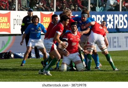 ROME - March 14: Six Nation match of Rugby between Italy and Wales on March 14, 2009 at Flaminio stadium in Rome, Italy.