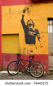 ROME - MARCH 19: Mural in honor of Argintine Futbol Club player Lionel Messi by graffiti artist Banksy shown on March 19, 2011 in Rome, Italy.