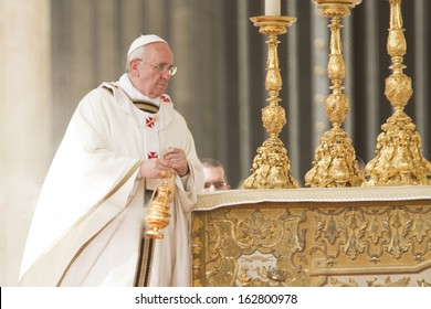 ROME - MARCH 2013: Pope Francis incenses the altar during Easter Sunday Mass in St Peter's Square, the Vatican - 31st March 2013