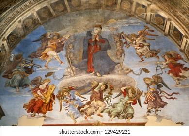 ROME - MARCH 23: Assumption fresco by Filippino Lippi from years 1488 - 1492 in church Santa Maria sopra Minerva in Carafa Chapel  on March 23, 2012 in Rome.